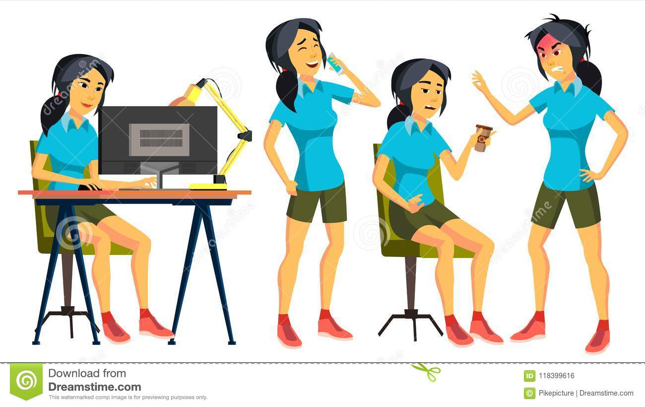 Office Worker Vector. Woman. Successful Officer, Clerk, Servant. Asiatic, China. Japanese Adult Business Woman. Face