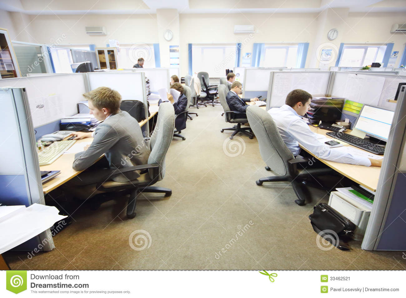 wide angle view busy design office. Office Workers Of Company RUSELPROM Sit At Computers Stock Image Wide Angle View Busy Design