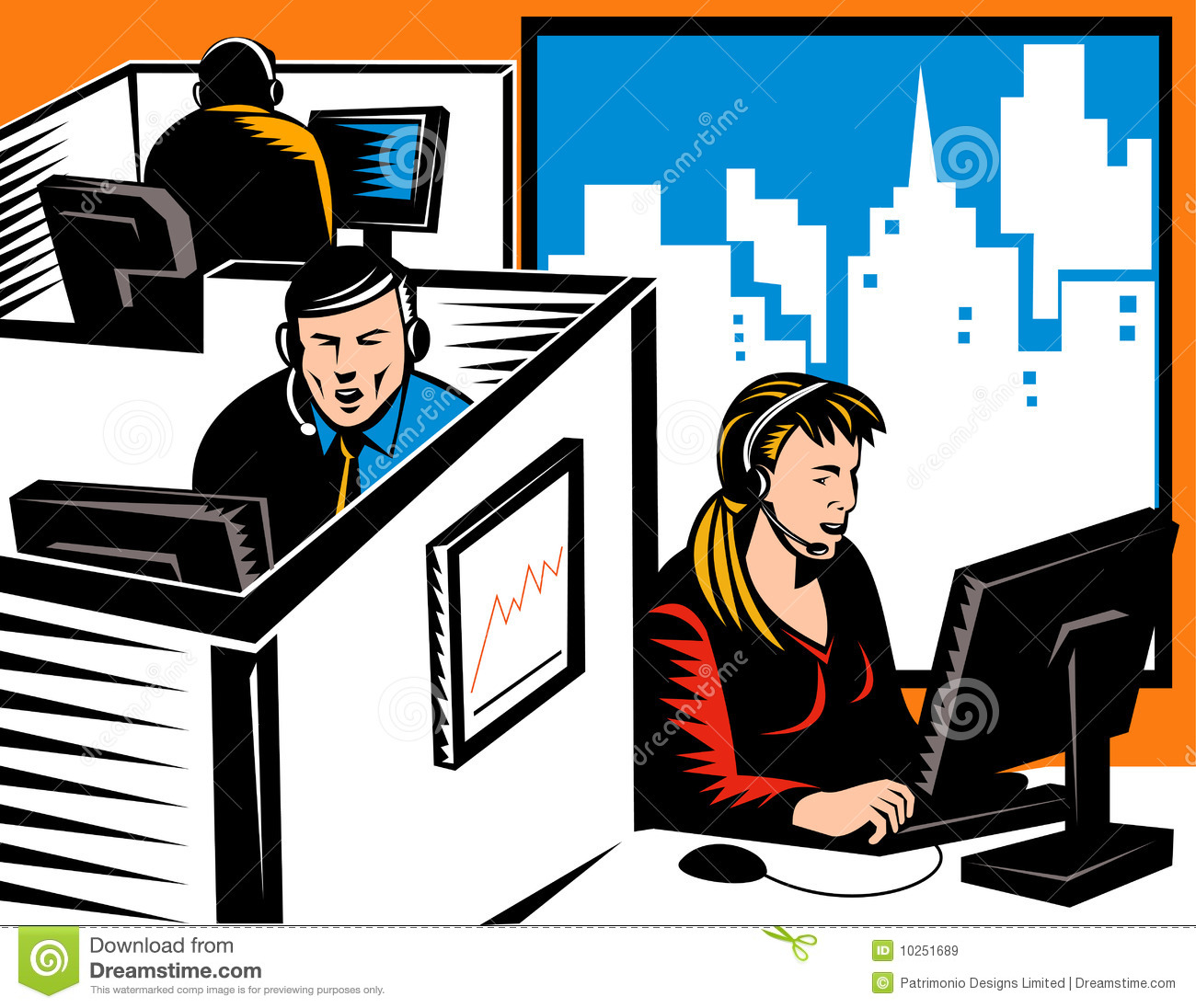 Office workers in cubicles stock illustration ...