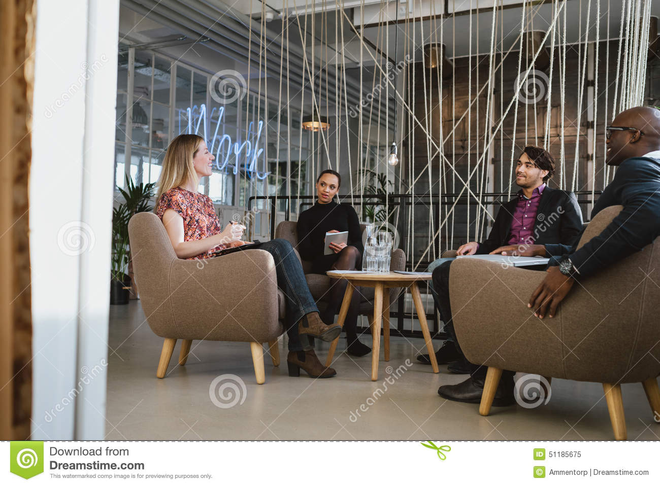 Office Workers Having A Meeting In Lobby Stock Image ...  Office Workers ...