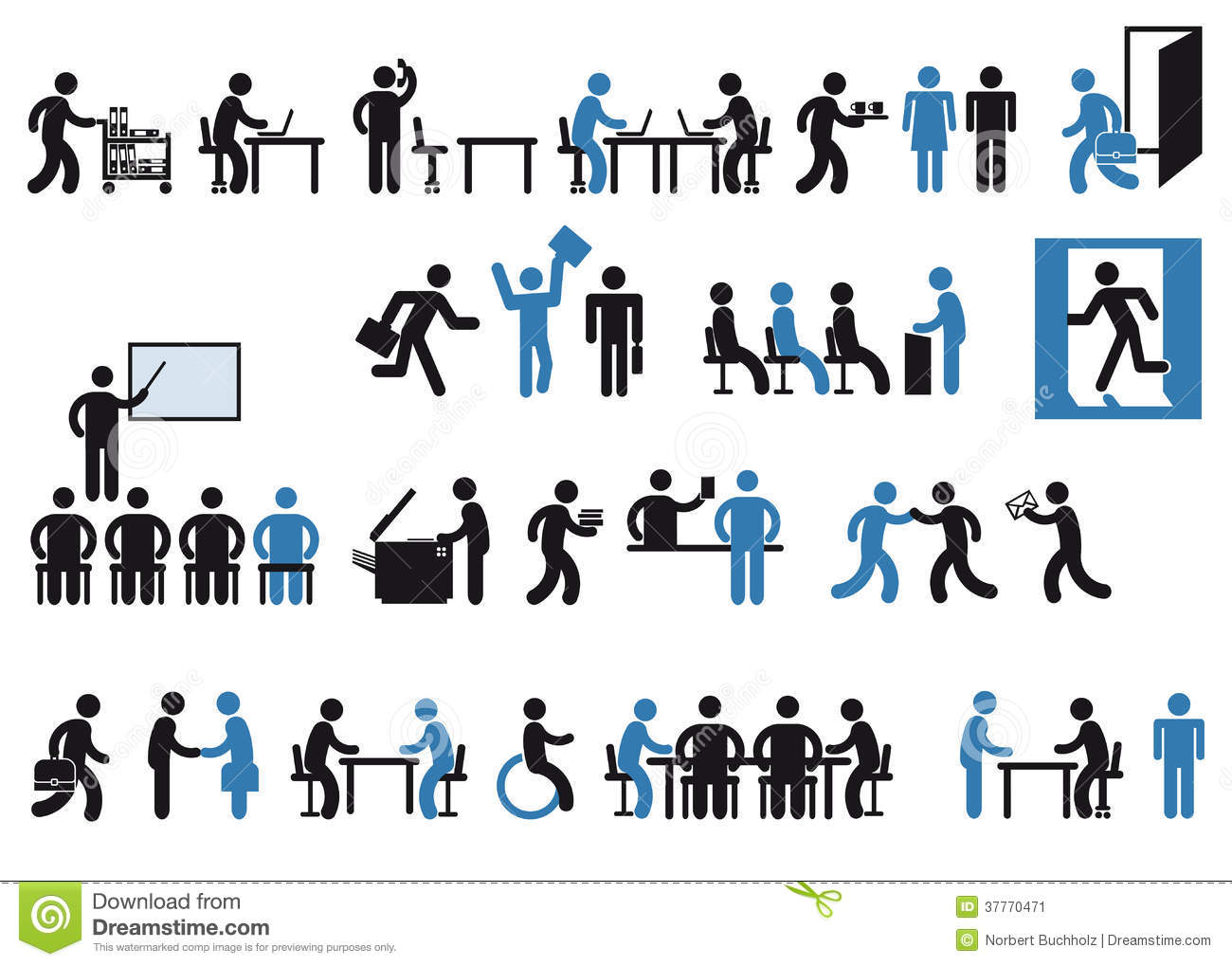 Office Workers Pictogram Stock Image Image 37770471