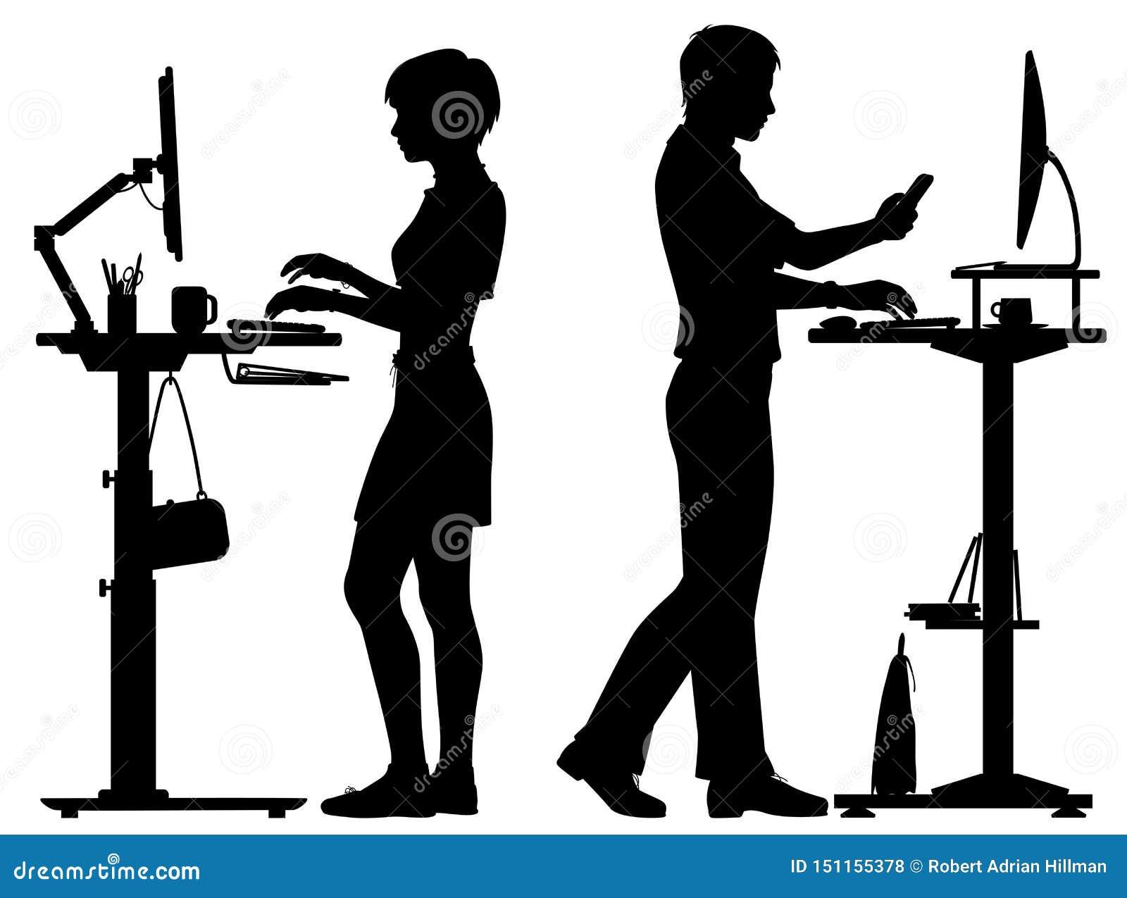 Office Workers Standing Desks Silhouette Stock Vector ...