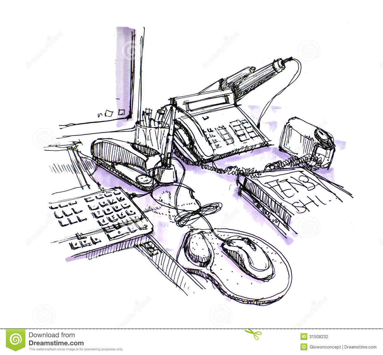 Office Working Desk Space Drawing Stock Photo - Image of
