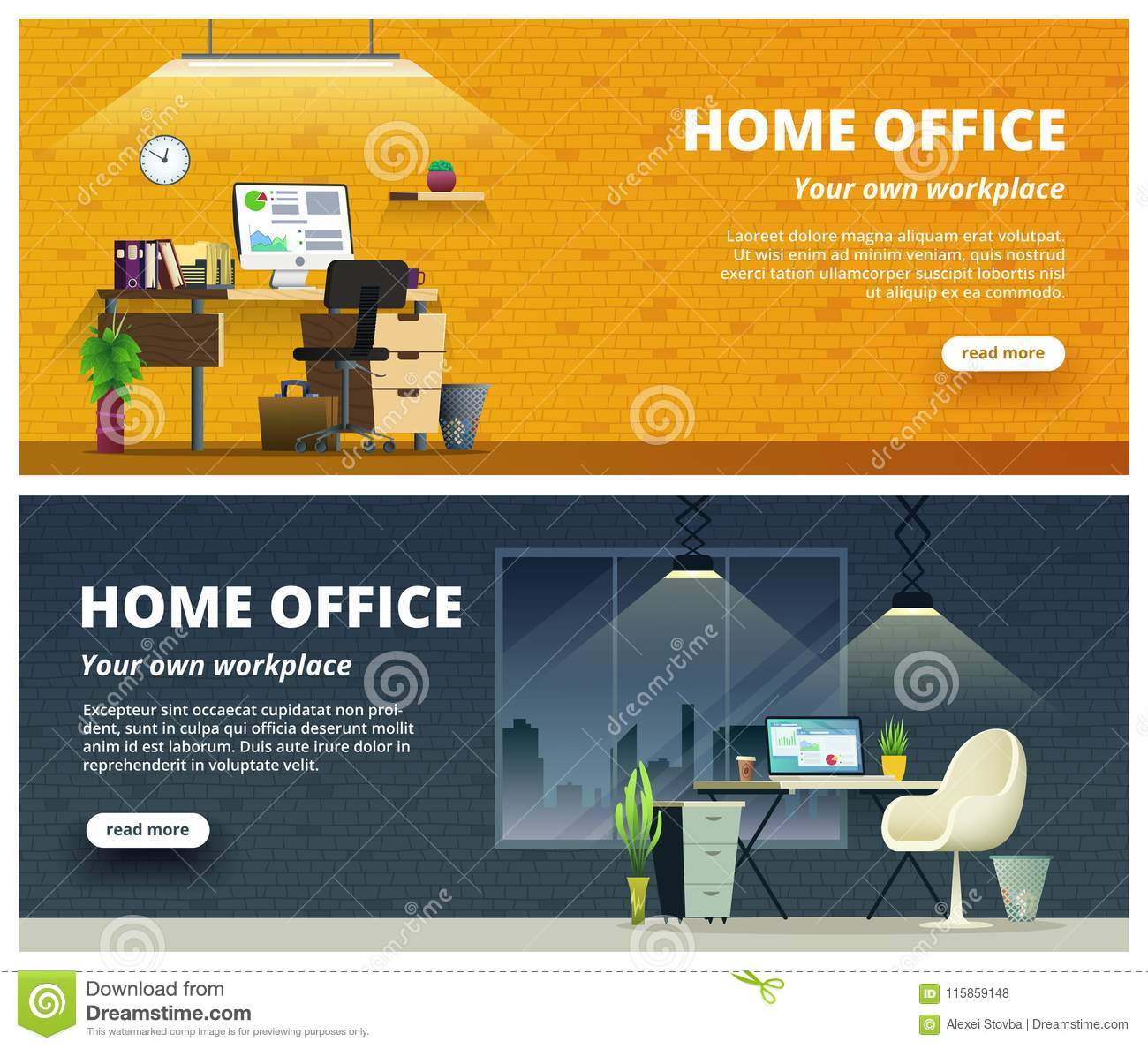 Delicieux Download Office Workplace Interior Design Banner. Home Office Concept  Illustration. Stock Vector   Illustration