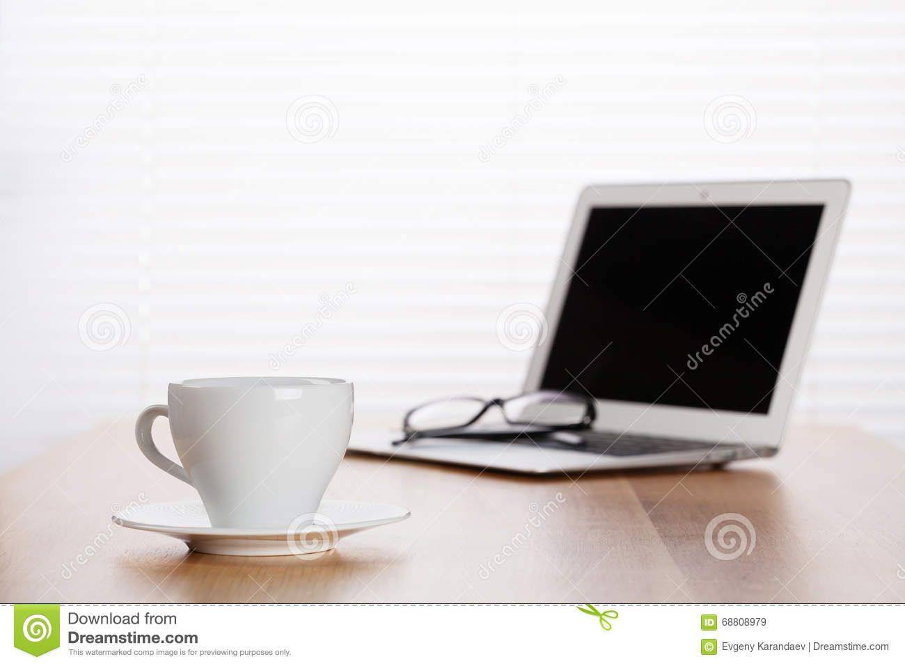 Office Workplace With With Laptop And Coffee Cup Stock Image Image 68808979