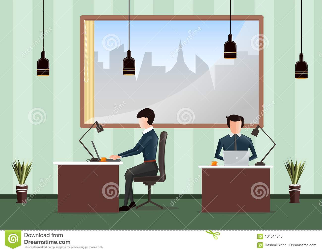 People Working In The Office. Workers Sitting At Desks And Work On