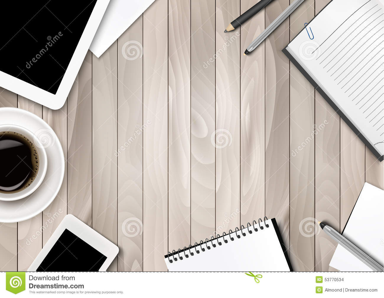 Office Workspace Background Coffee Tablet Notebooks