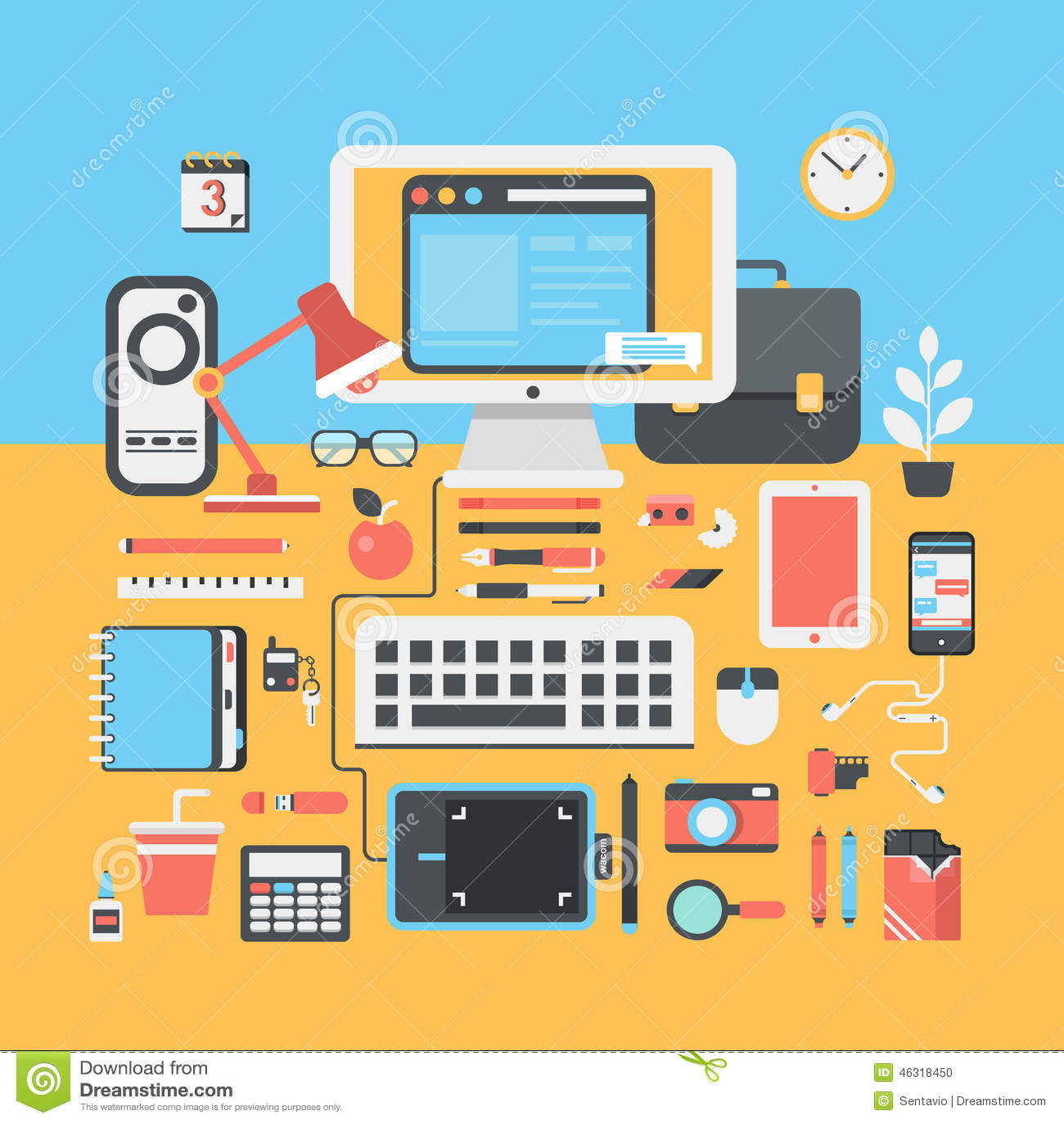 office workspace creative person flat modern design