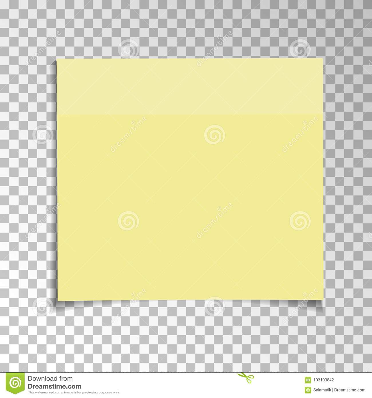Office Yellow paper sticky note isolated on transparent background. Template for your projects. Vector illustration