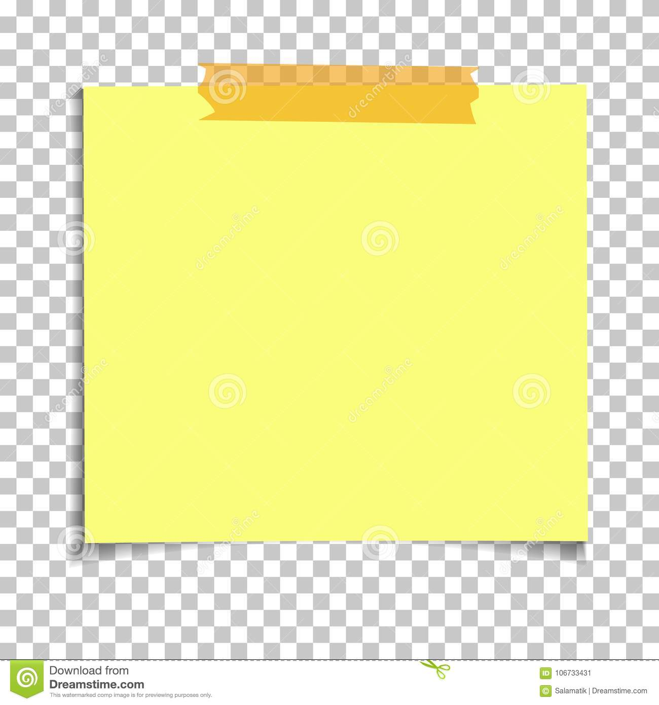 Office Yellow Paper Sticky Note On Transparent Background Template