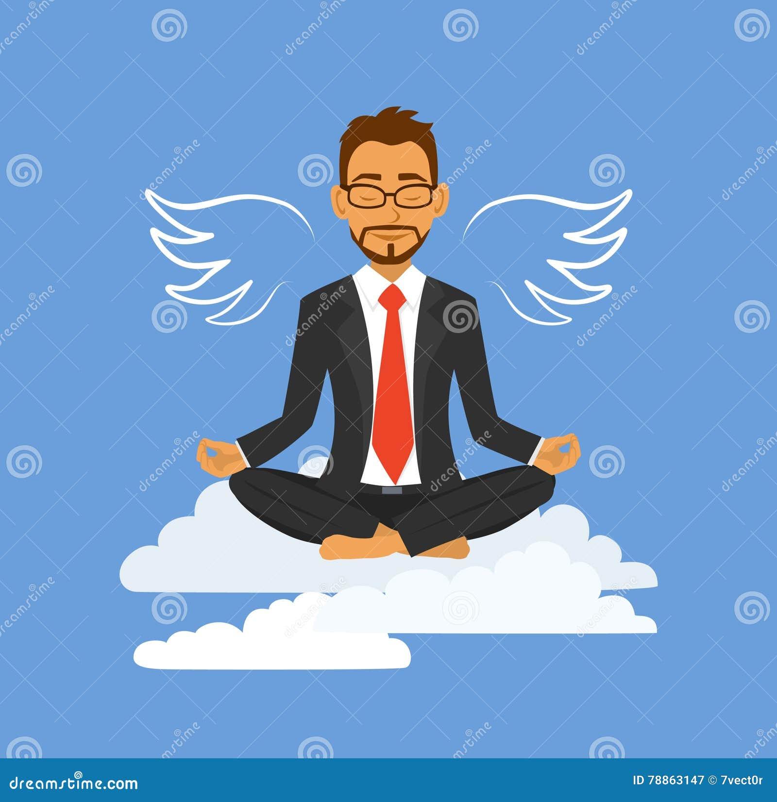 meditation businessman office. Office Yoga Meditation Businessman