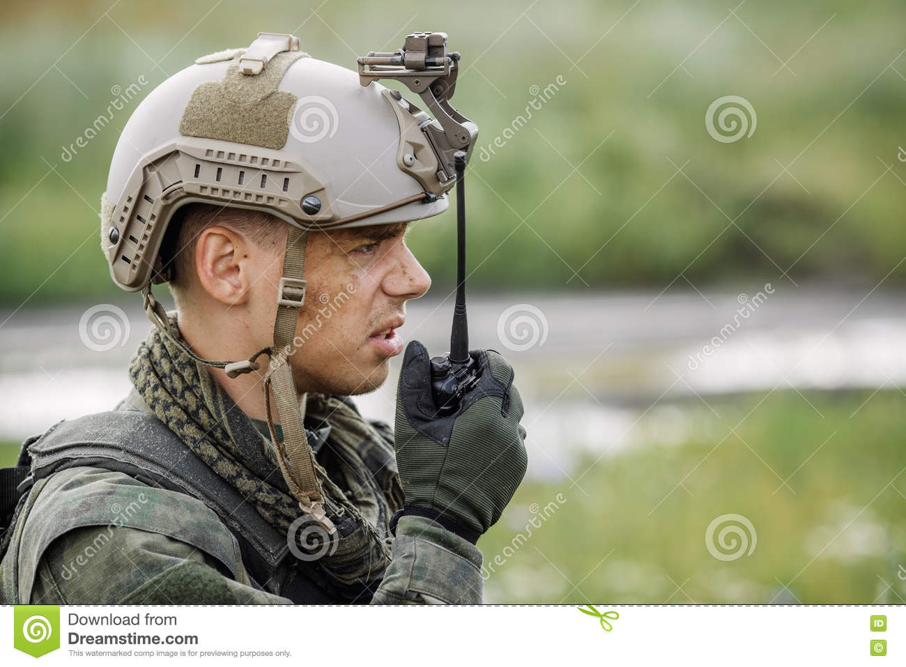 Officer holds a radio station, and give orders subdivision
