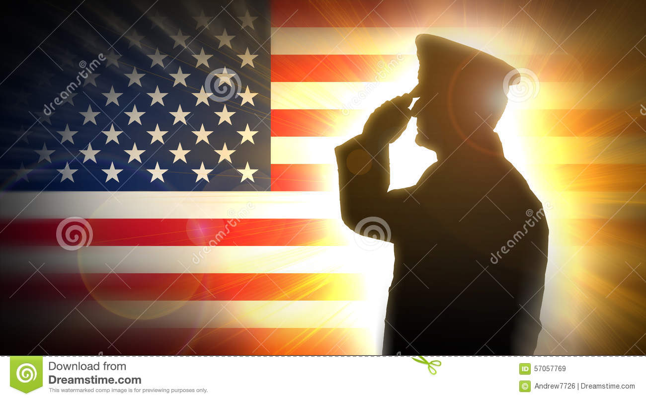 Officer Salutes The American Flag In The Background Stock