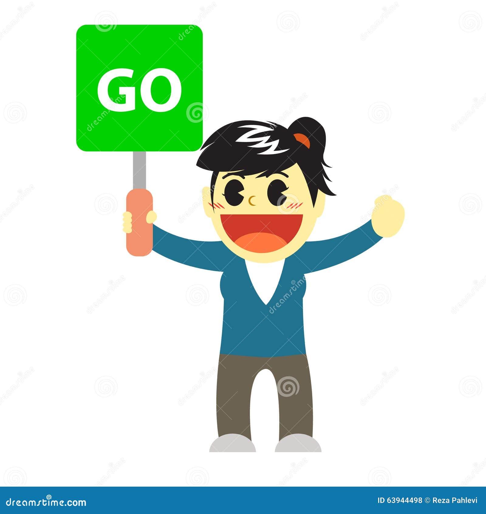 officewomen cartoon and go sign stock illustration image