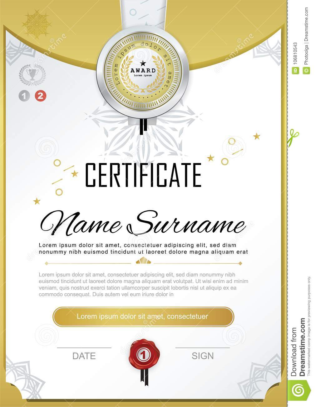 Official Black Certificate With Badge And Wafer Vector Template