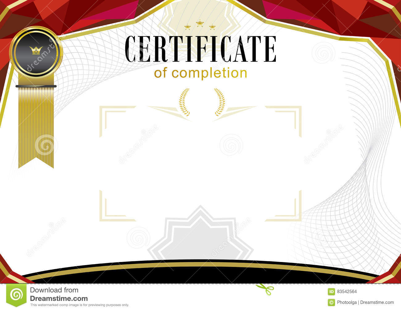 official certificate  red triangle background and emblem stock vector