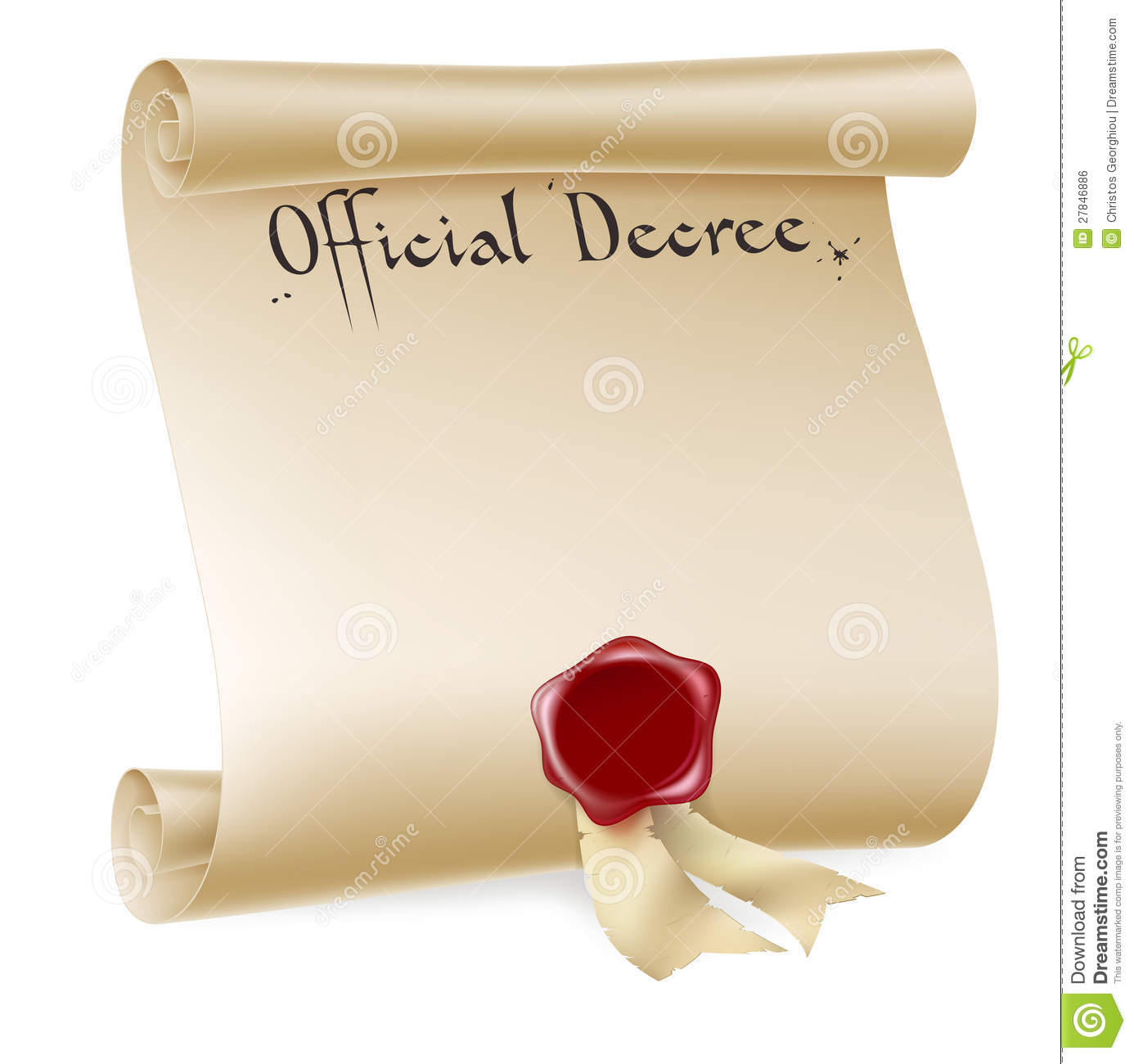 Official Decree Scroll With Red Wax Seal Stock Vector Illustration