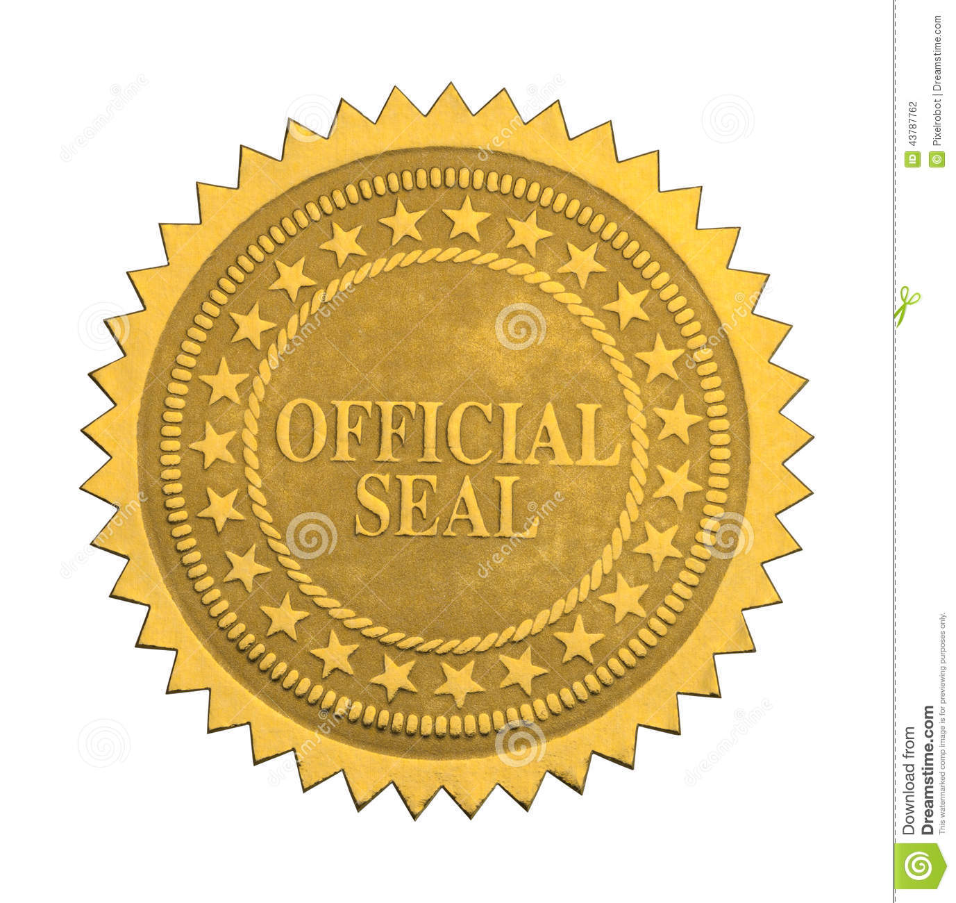 Ornate Gold Official Seal with Stars Isolated on White Background.