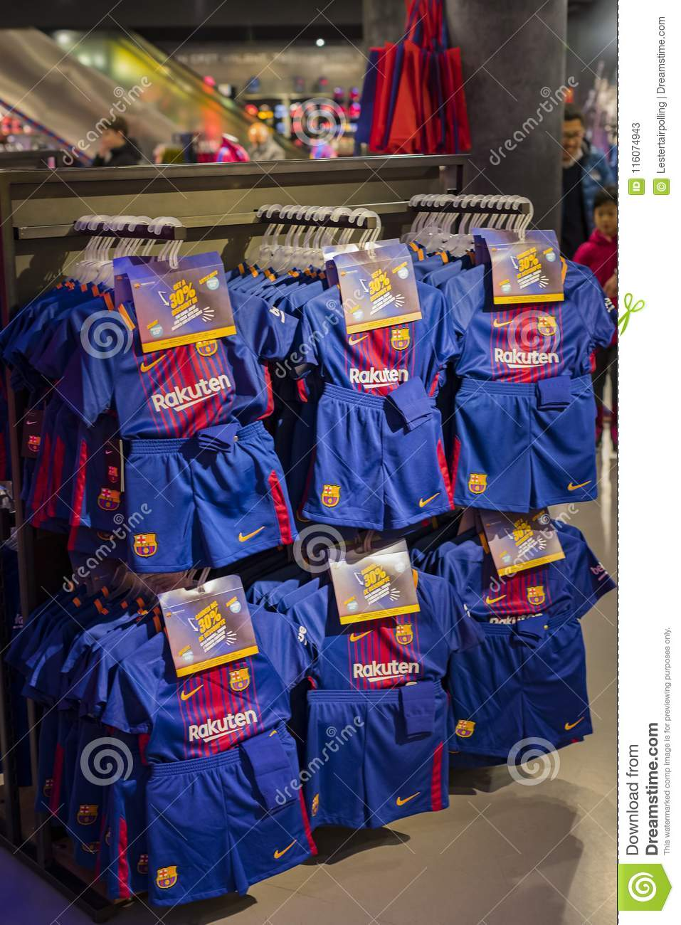 00b26b4fb BARCELONA, SPAIN - 12 JANUARY 2018: Official Store FC Barcelona , clothing  and footwear team of souvenirs and paraphernalia for fans of the team and  ...