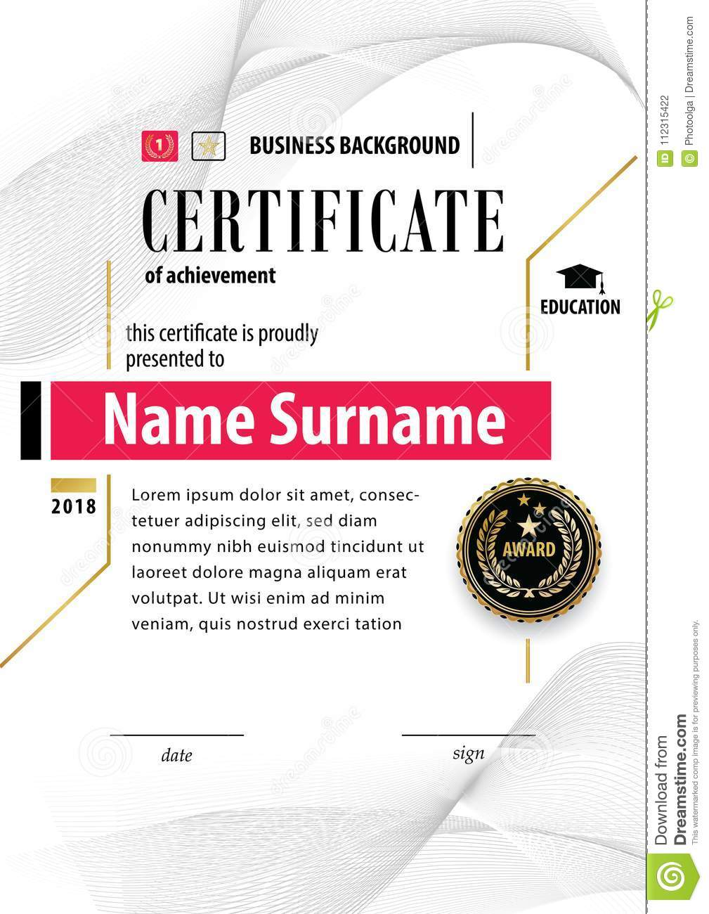 Official White Certificate Of Appreciation Award Template With Black