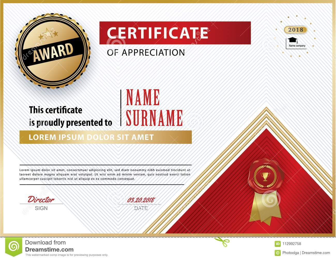 Official white certificate of appreciation award template with gold red shapes and black badge