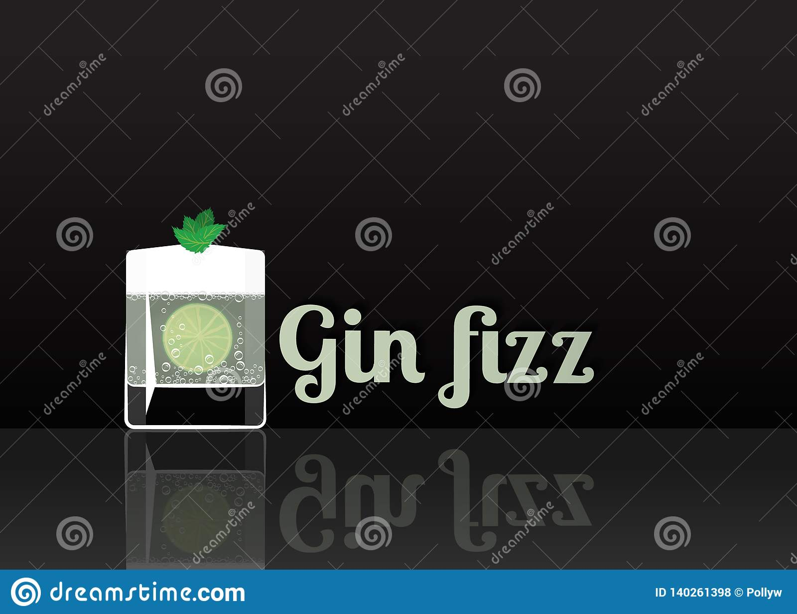 Officieel cocktailpictogram, de Onvergetelijke Gin Fizz-beeldverhaalillustratie