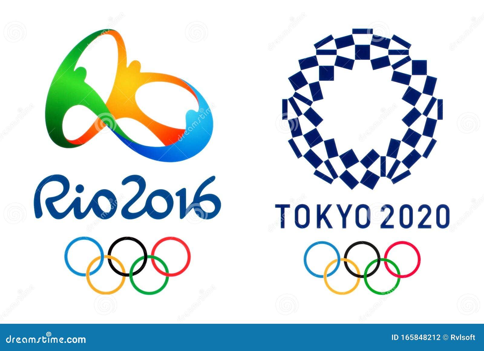 Offizielle Logos Fur Die Olympischen Sommerspiele 2020 In Tokio Japan Und Die Olympischen Spiele 2016 In Rio Brasilien Redaktionelles Stockfotografie Bild Von International Gedruckt 165848212