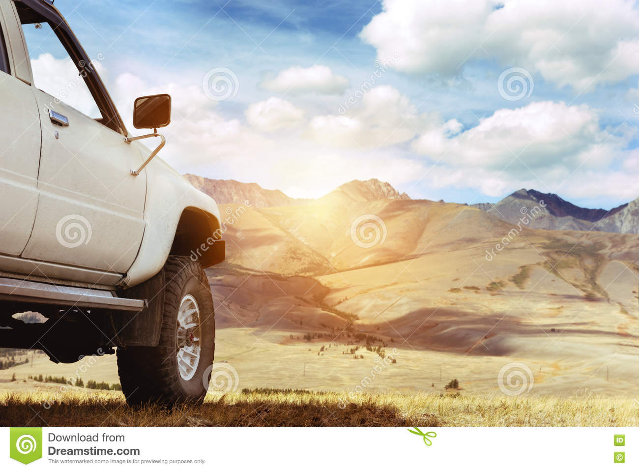 Offroad car jeep mountains 4x4