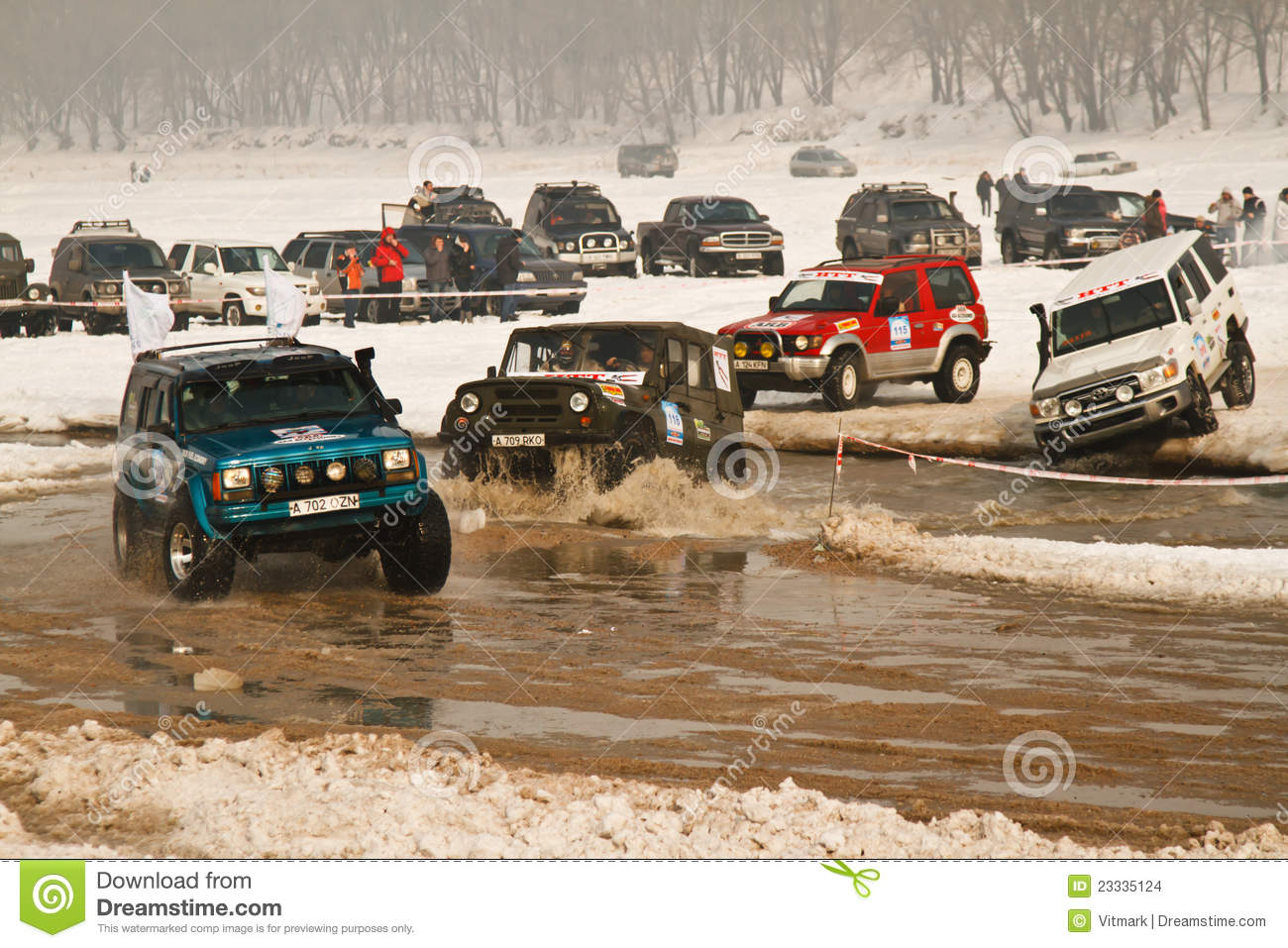 Offroad Racing Jeeps In Winter On Road Racing Editorial Image