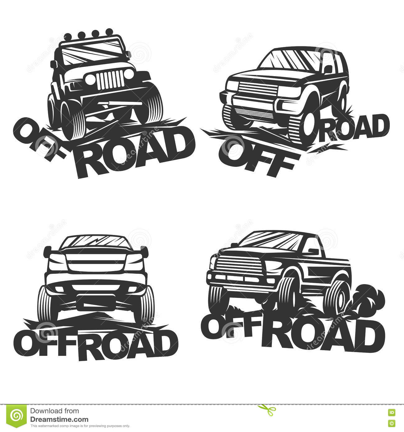 Offroad Set Emblems Stock Vector Illustration Of Icon 71614829