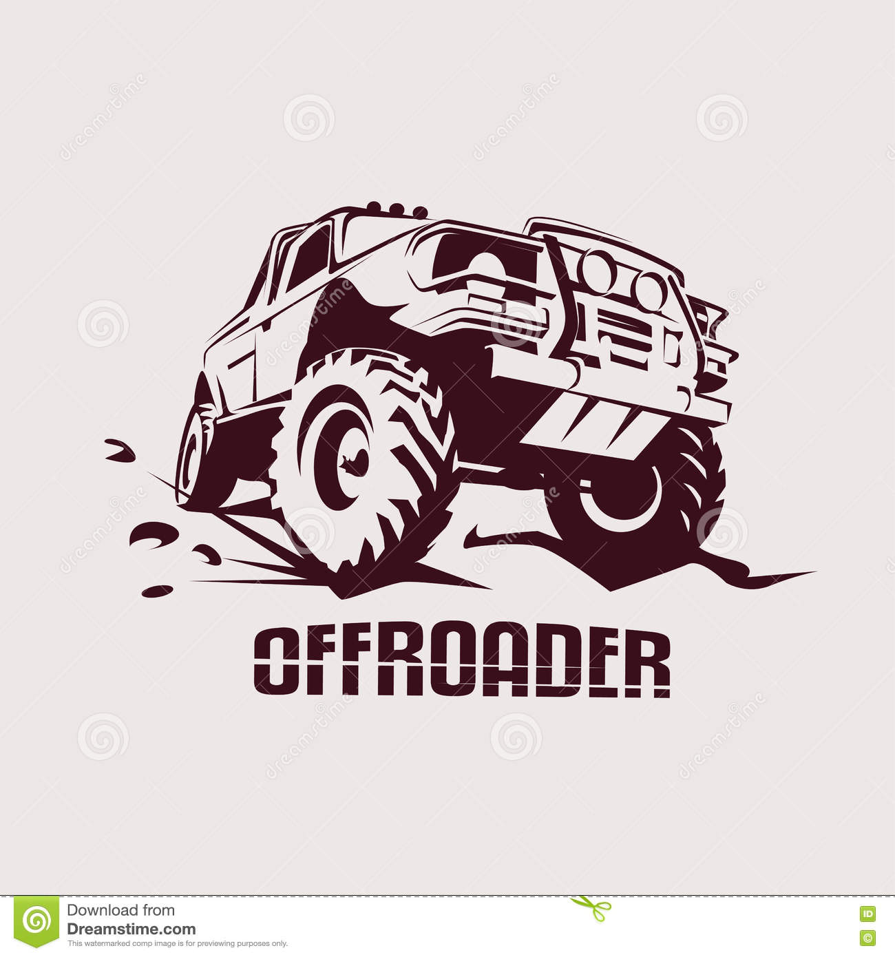Offroad Suv Car Template For Labels, Emblems, Badges Stock