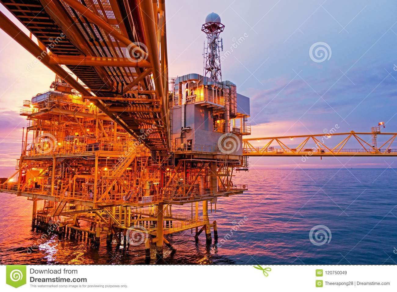 Download Offshore Construction Platform For Exororation And Production Oil Stock Image - Image of drill, plant: 120750049