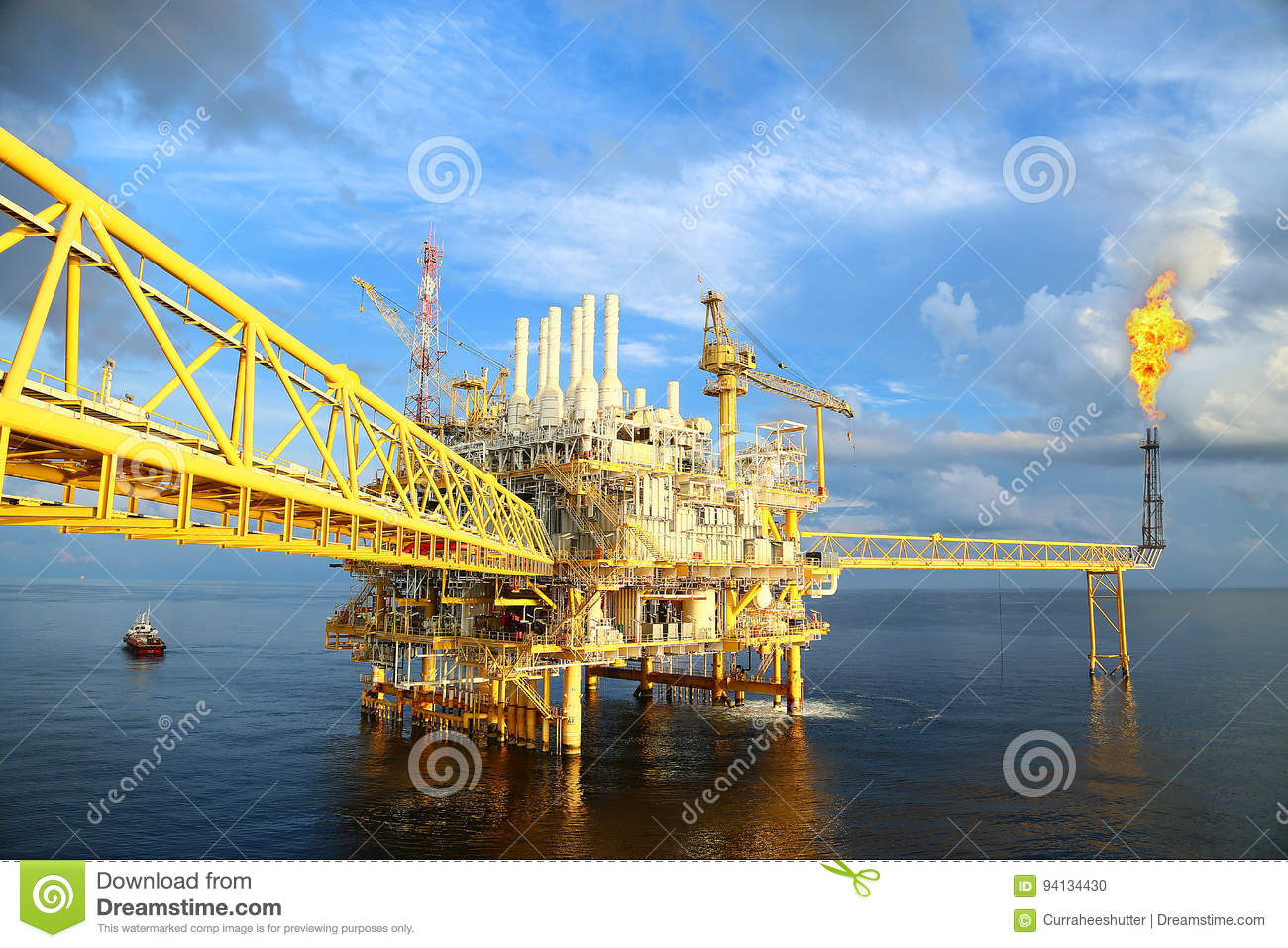 Offshore construction platform for production oil and gas. Oil and gas industry and hard work industry. Production platform