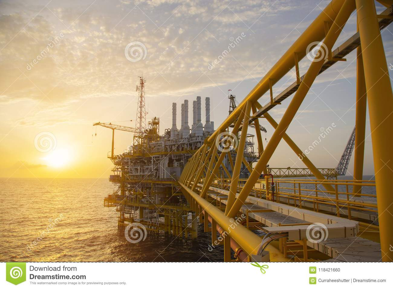 Offshore construction platform for production oil and gas. Oil and gas industry and hard work. Production platform and operation