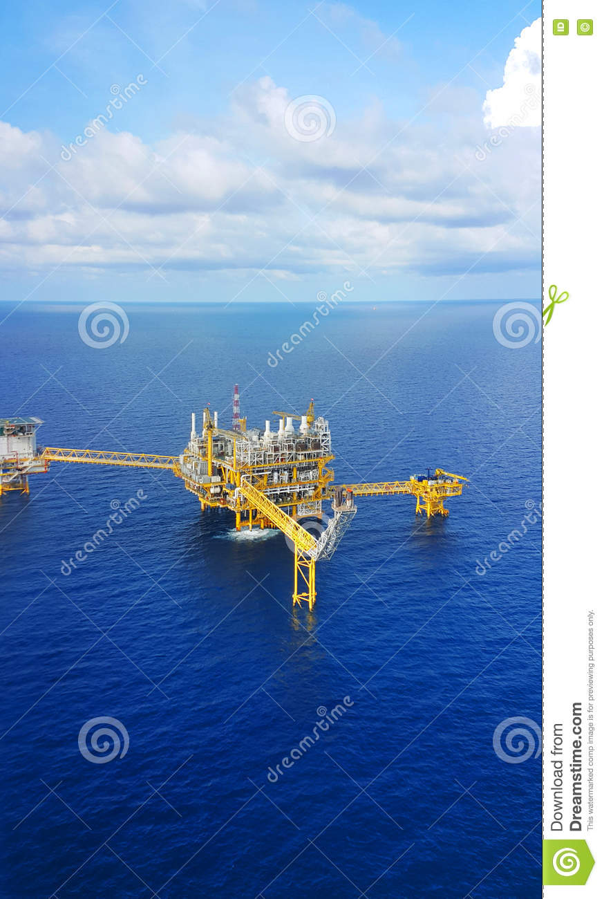 Offshore construction platform for production oil and gas, Oil and gas industry and hard work,Production platform and operation