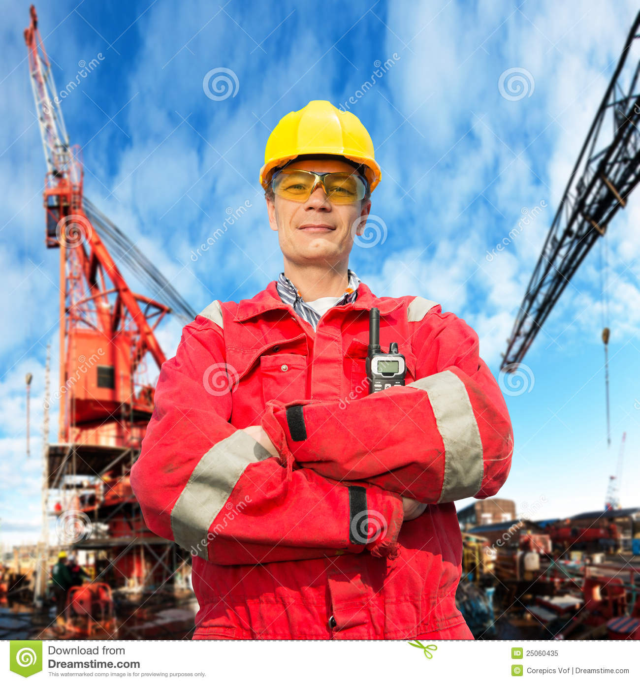 Immage Offshore Engineering : Offshore engineer stock image of smiling crossed