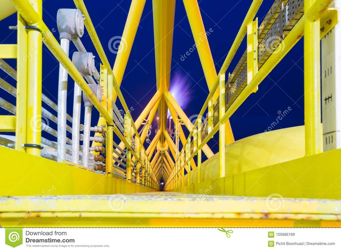 Offshore Oil and gas central processing platform and flare bridge while vent and burn waste gases from process