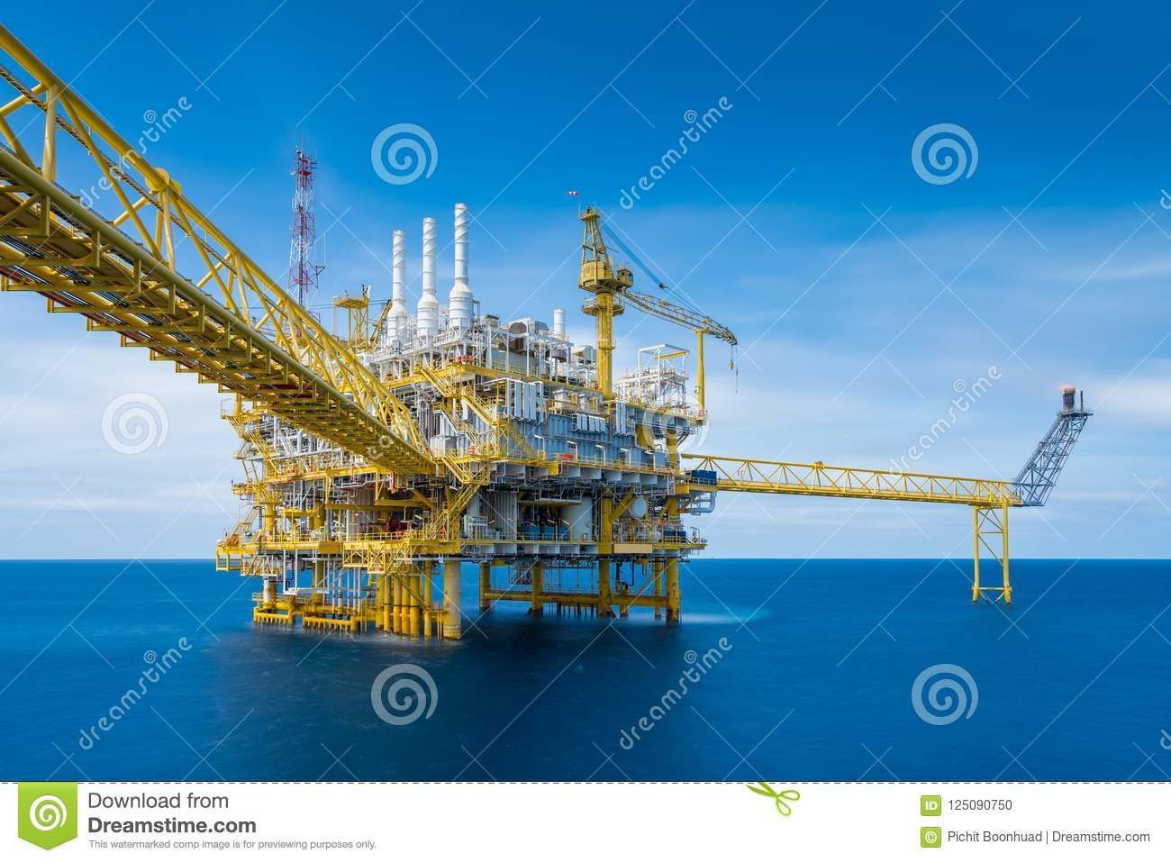 Offshore Oil And Gas Construction Platform In Operation Produce Raw