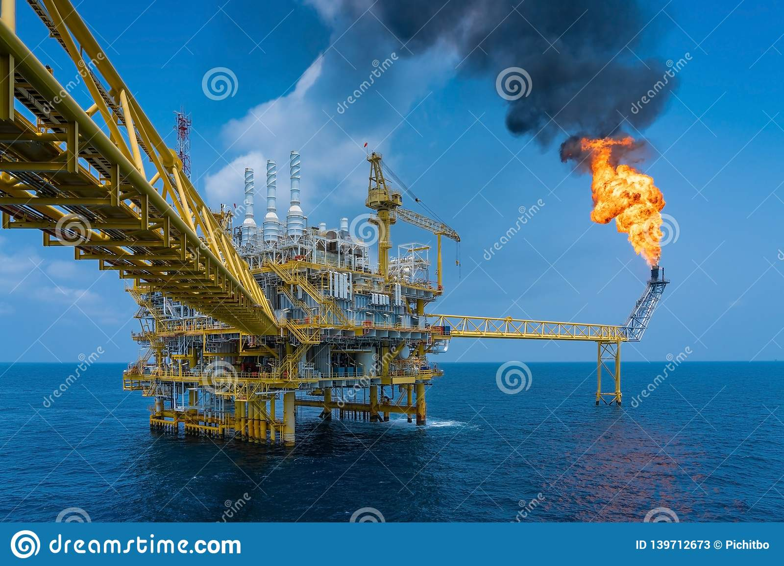 Offshore oil and gas construction platform while vent gases to flare platform to prevent over pressure from process upset.
