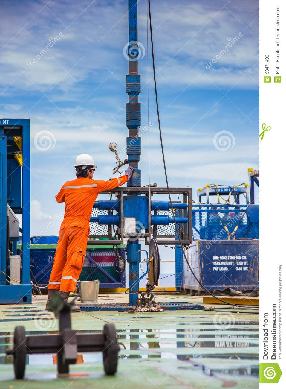 Worker Inspect And Setting Up Top Side Tools For Safety First To