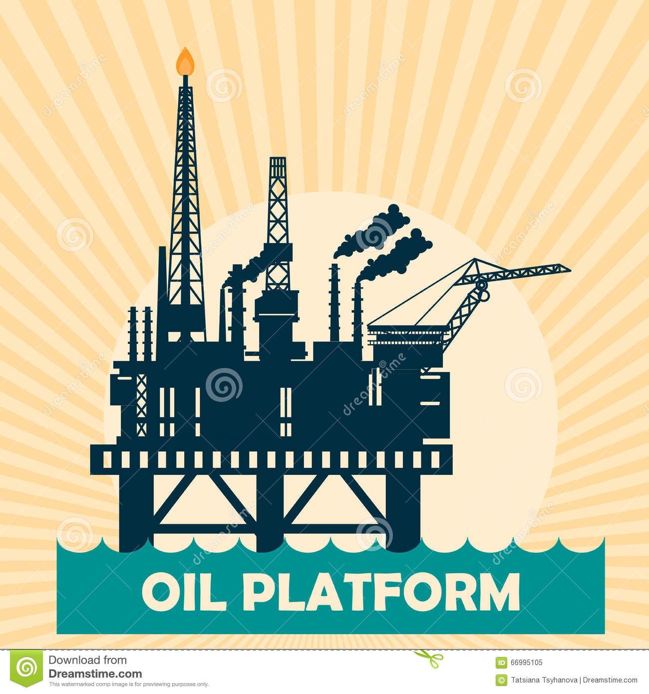 Offshore oil platform design concept set with petroleum. Helipad, cranes, derrick, hull column, lifeboat
