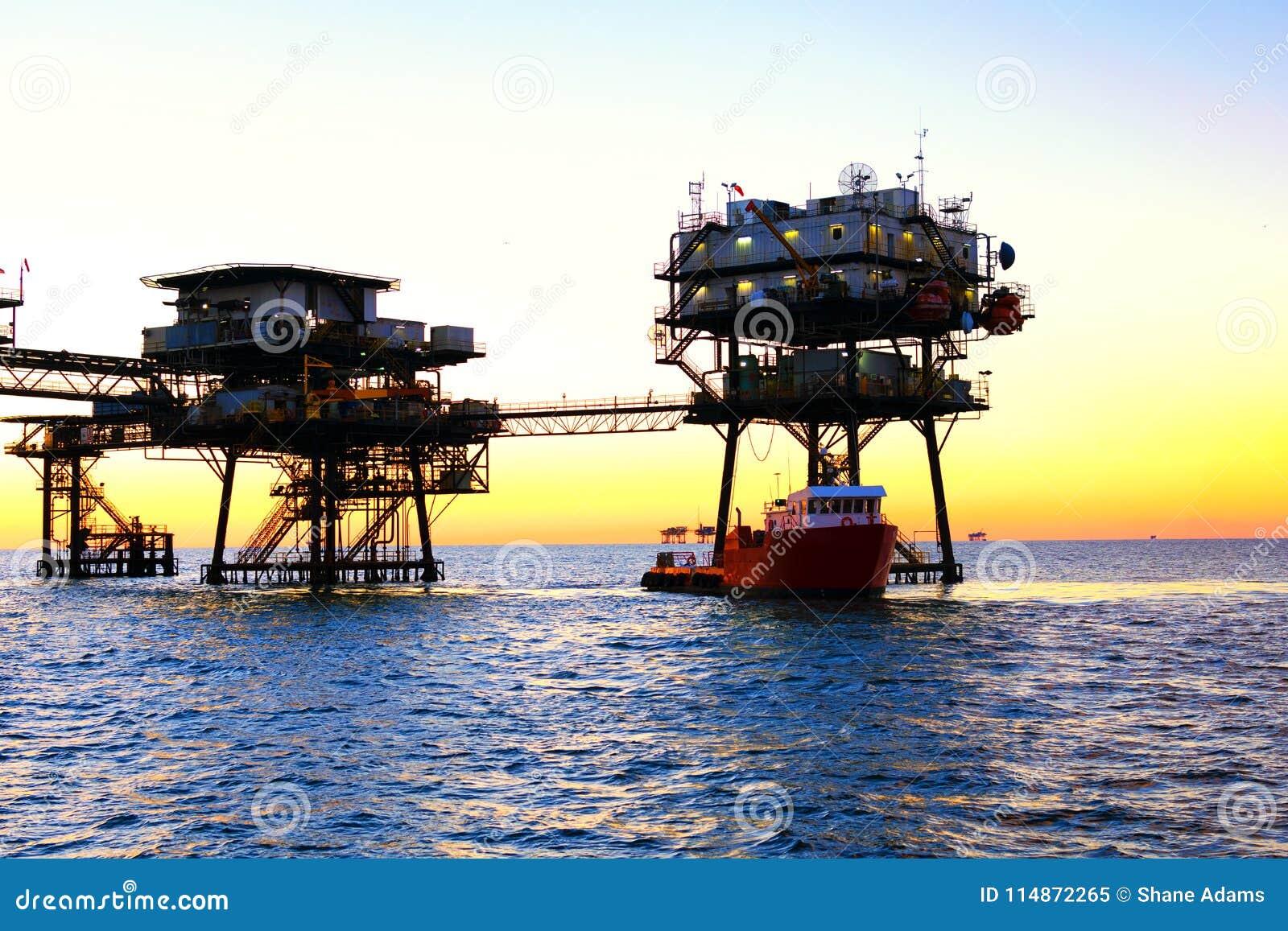 Offshore Oil Platform stock image  Image of ocean, steel