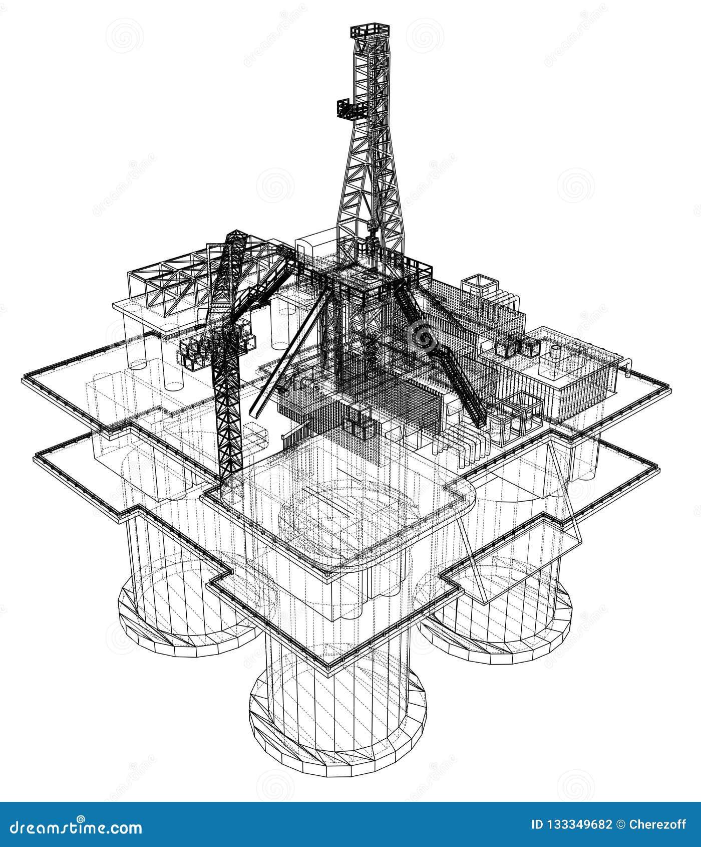 Offs Oil Rig Drilling Platform Concept Stock ... Ocean Drilling Rig Schematic Diagram on