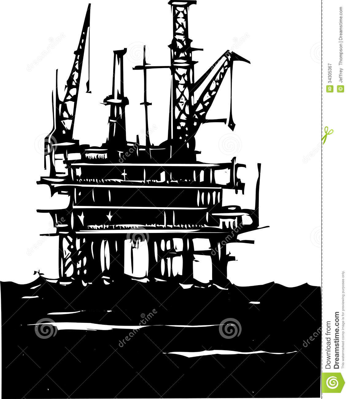 ... Style image of a Deep sea offshore oil rig drilling on the ocean