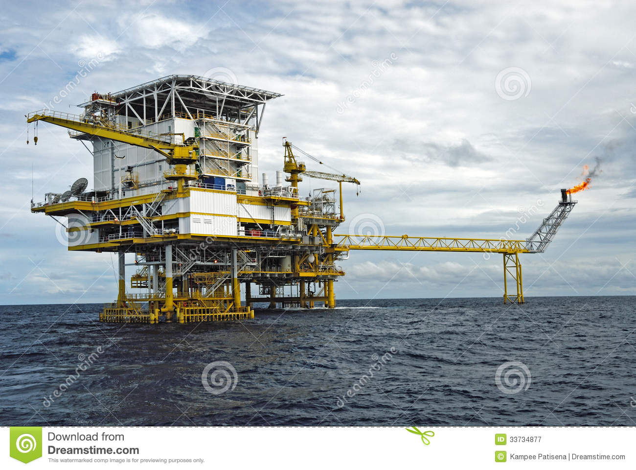 Offshore production platform in a Gulf of Thailand
