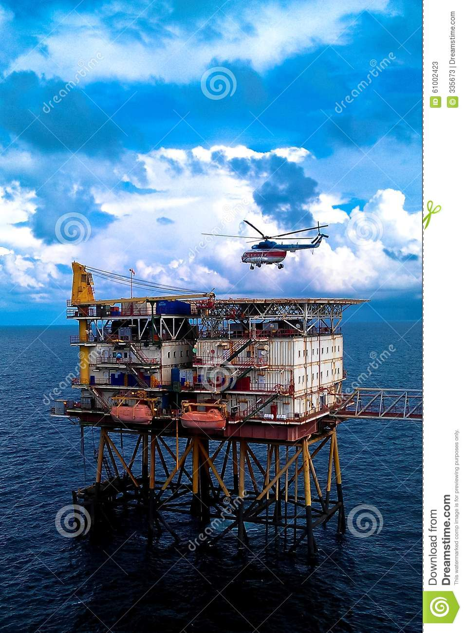 Offshore production platform with hlicopter