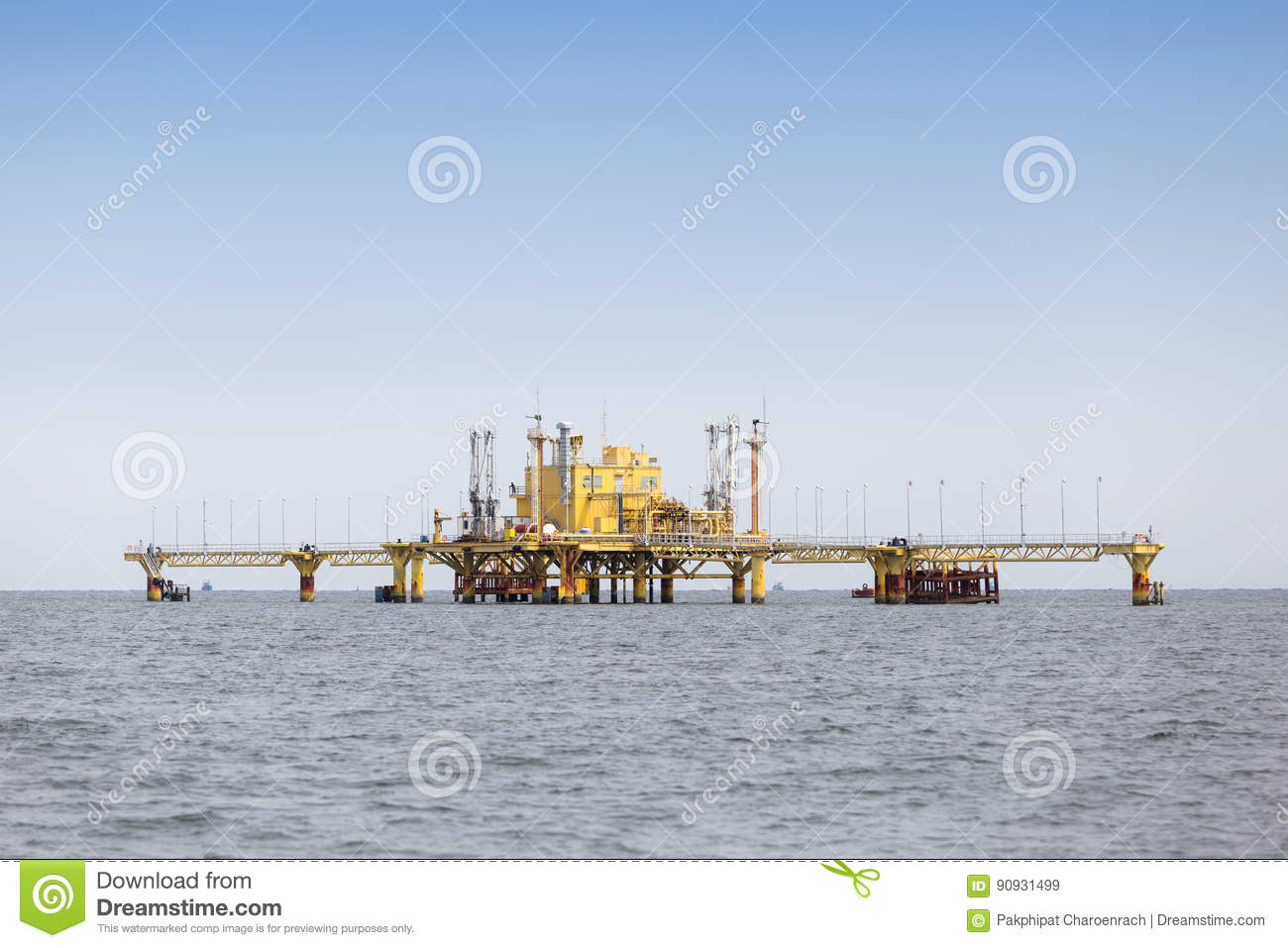 Offshore Production Platform In the Middle of Ocean.