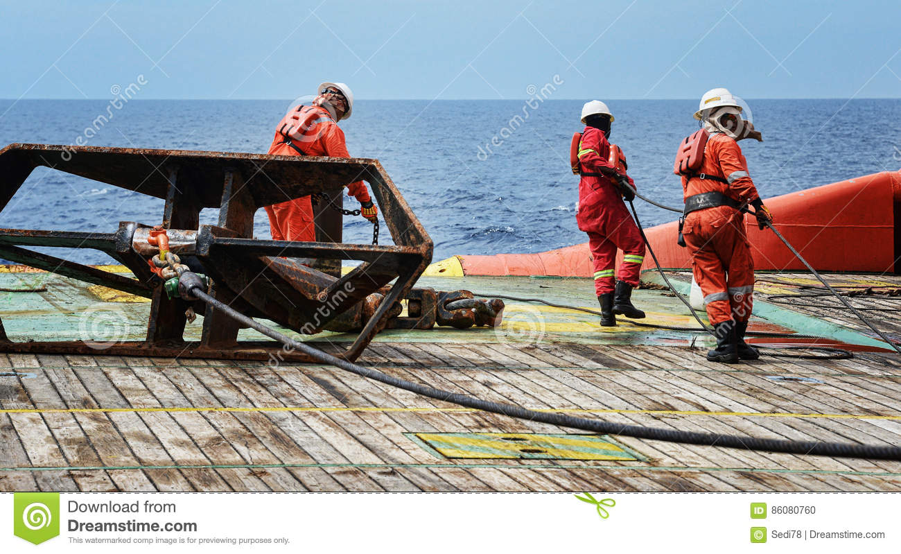 Offshore worker on deck editorial image  Image of anchor