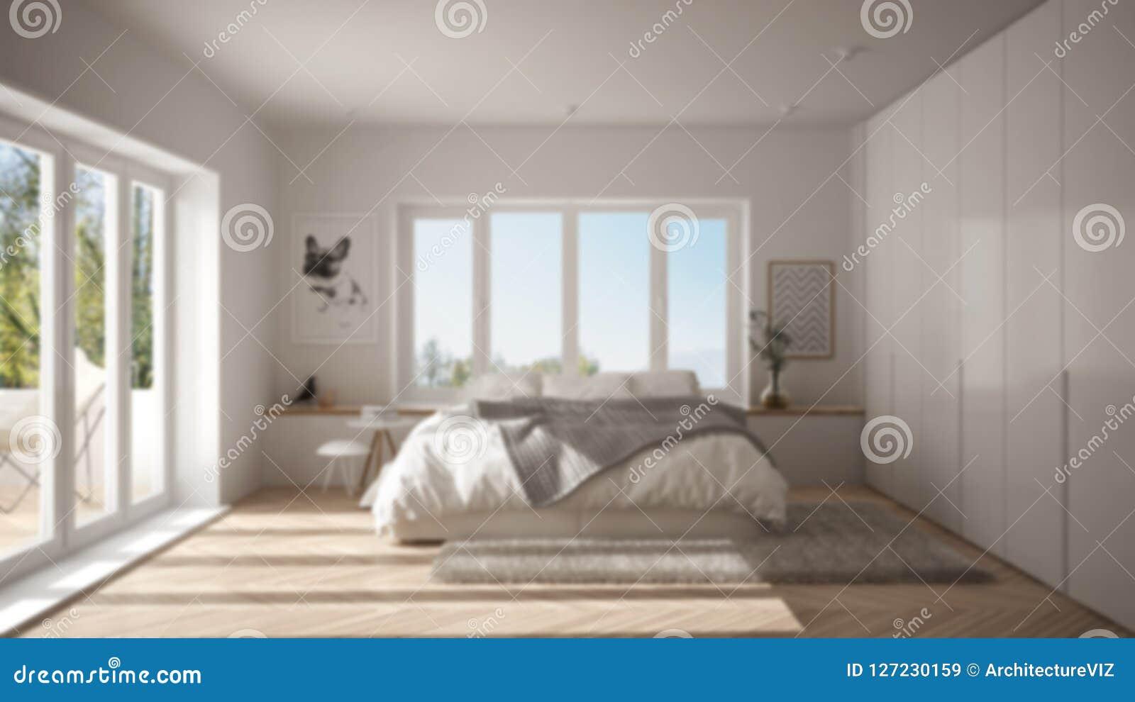 Camere Da Letto Design Minimalista : Offuschi l interior design del fondo camera da letto minimalista