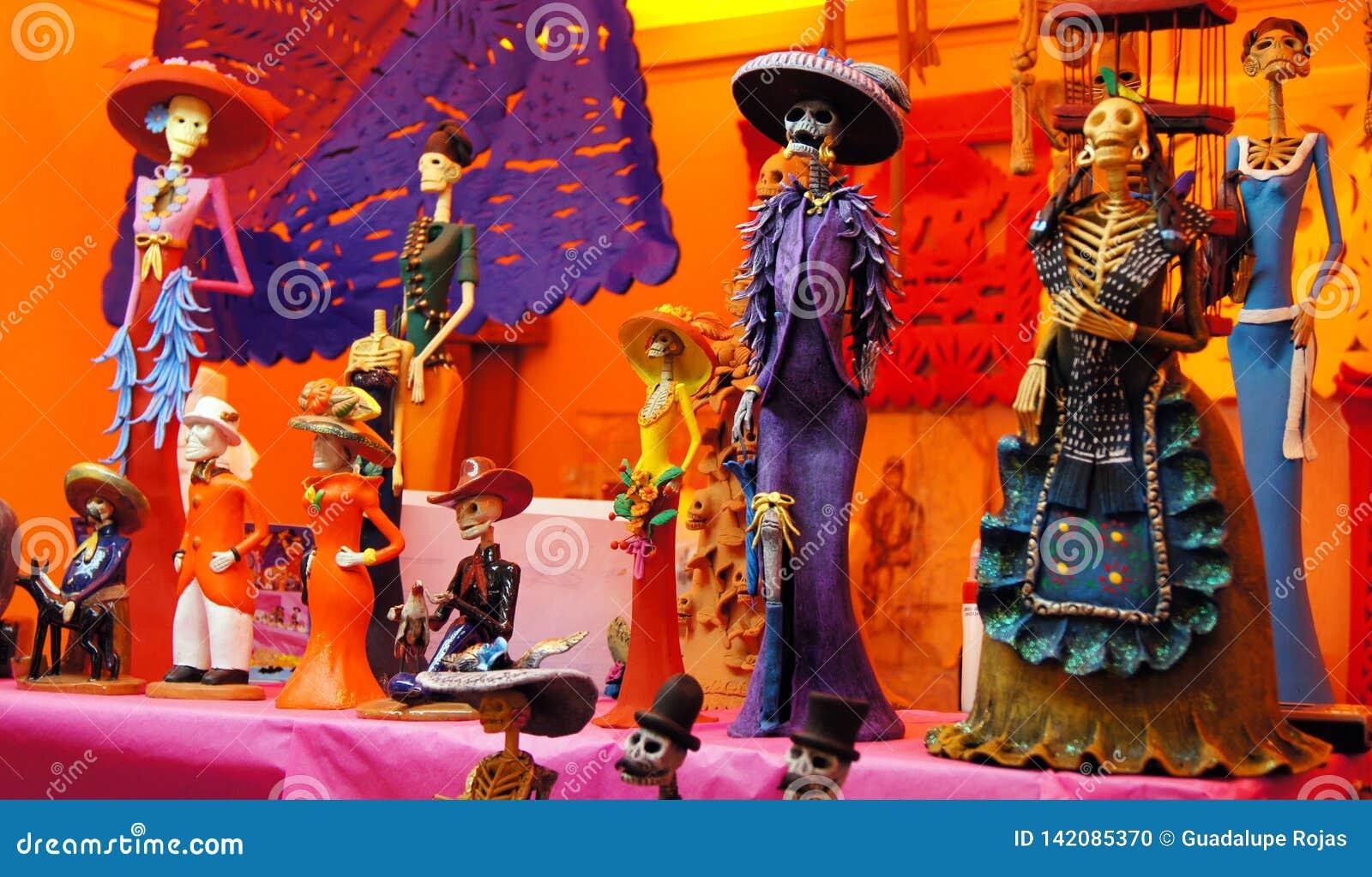 Ofiary, czaszki, rzemiosła odnosić sie dzień nieboszczyk w Meksyk Lajkonik pełno który robi my pamiętać kolory i tradycje